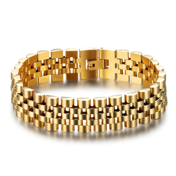 Classy Men Wide Gold Coated Bracelet