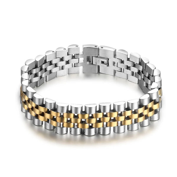 Classy Men Wide Silver Gold Coated Bracelet