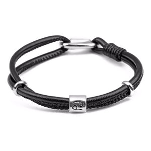 Classy Men Cancer Zodiac Leather Bracelet