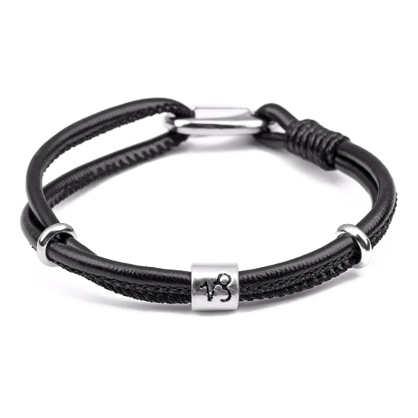 Classy Men Capricorn Zodiac Leather Bracelet