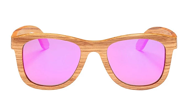 Classy Men Pink Polarized Bamboo Wood Sunglasses