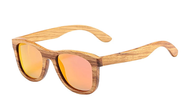 Classy Men Red Polarized Bamboo Wood Sunglasses