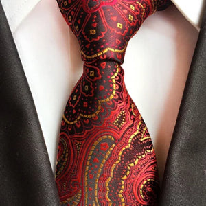 Classy Men Formal Crimson Red Paisley Silk Necktie