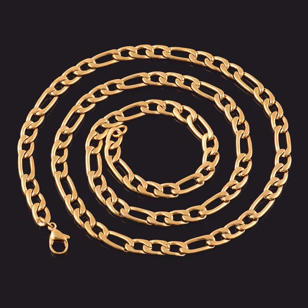 Classy Men 3mm Gold Figaro Chain Necklace