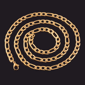 Classy Men 11mm Gold Figaro Chain Necklace