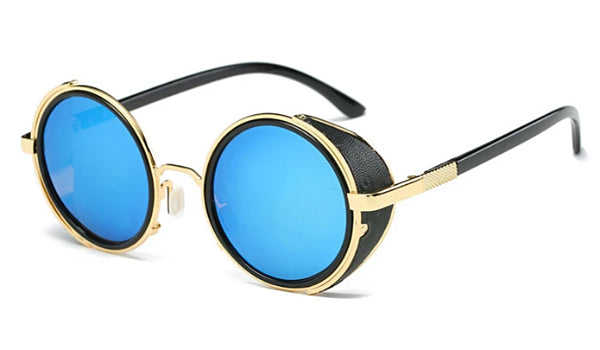 Classy Men Turquoise Retro Side Shield Sunglasses