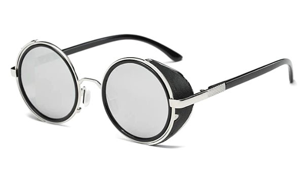Classy Men Silver Retro Side Shield Sunglasses
