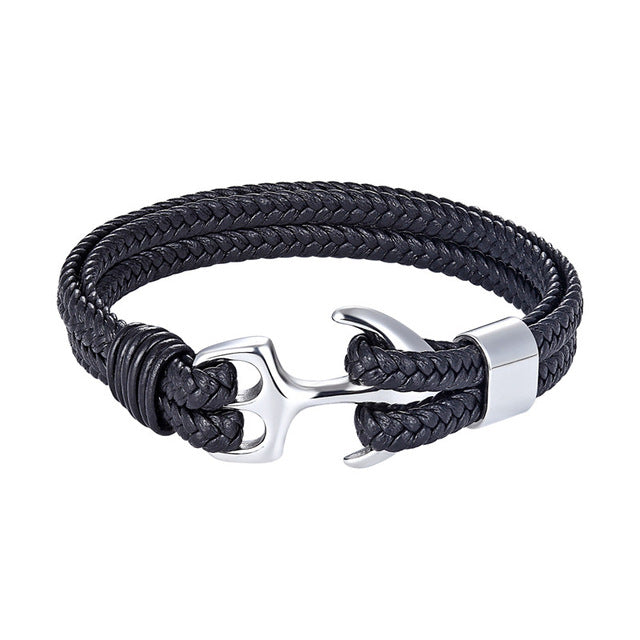 Classy Men Black & Silver Anchor Bracelet - Classy Men Collection