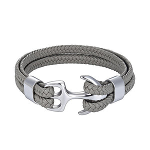 Classy Men Grey & Silver Anchor Bracelet - Classy Men Collection