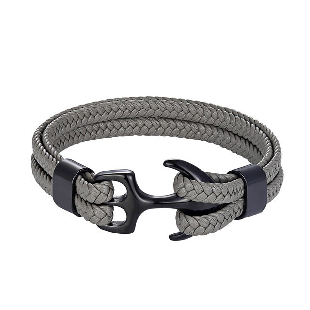 Classy Men Grey & Black Anchor Bracelet - Classy Men Collection