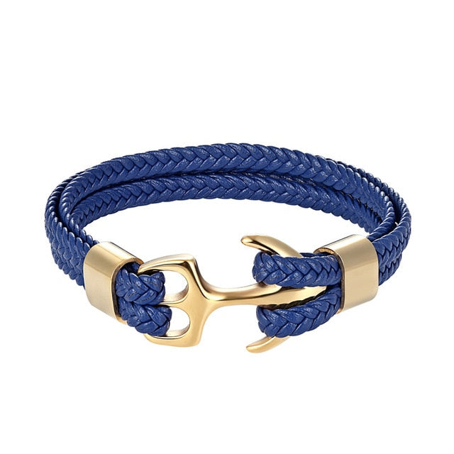 Classy Men Blue & Gold Anchor Bracelet - Classy Men Collection