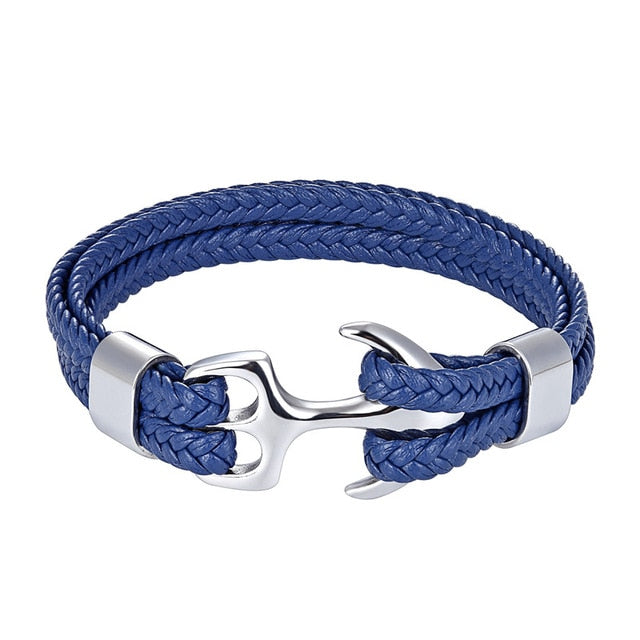 Classy Men Blue & Silver Anchor Bracelet - Classy Men Collection
