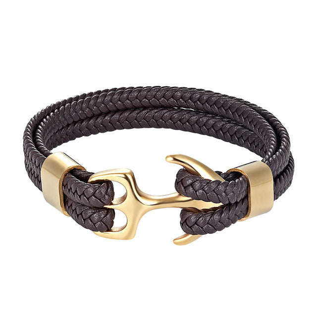 Classy Men Brown & Gold Anchor Bracelet - Classy Men Collection