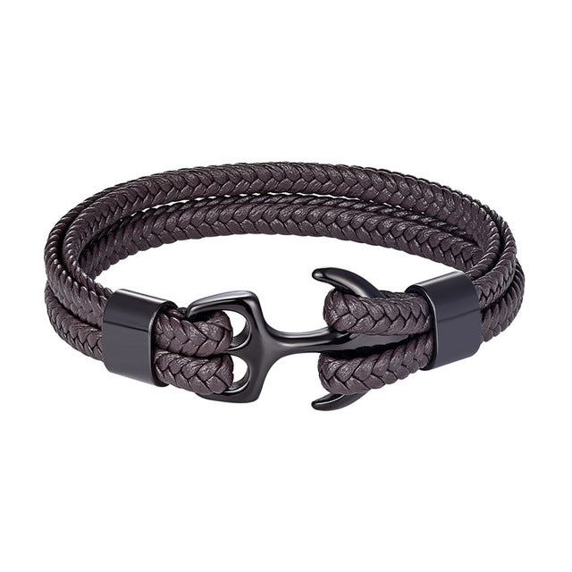 Classy Men Brown & Black Anchor Bracelet - Classy Men Collection