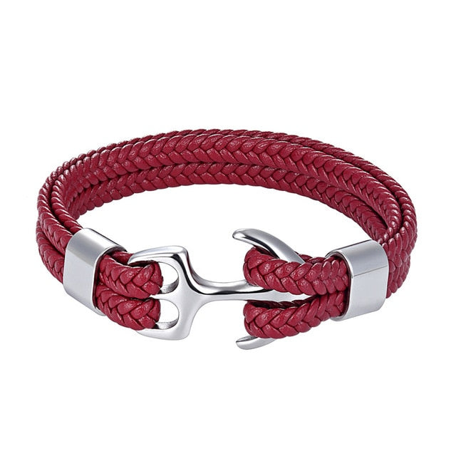 Classy Men Red & Silver Anchor Bracelet