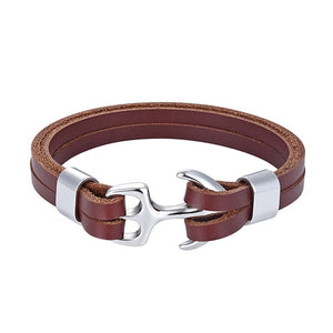 Classy Men Brown & Silver Anchor Bracelet - Classy Men Collection