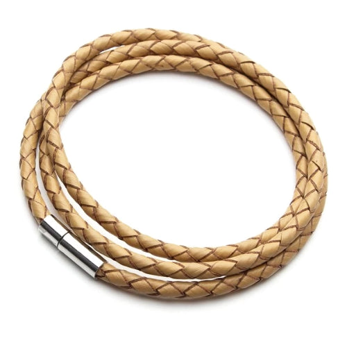 Classy Men Beige Multilayer Leather Bracelet