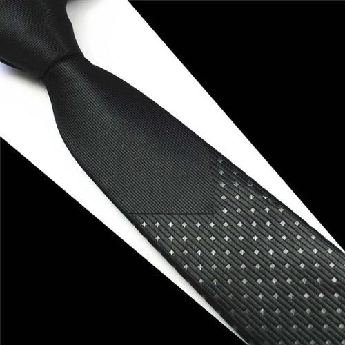 Classy Men Black Dotted Luxury Silk Narrow Tie - Classy Men Collection