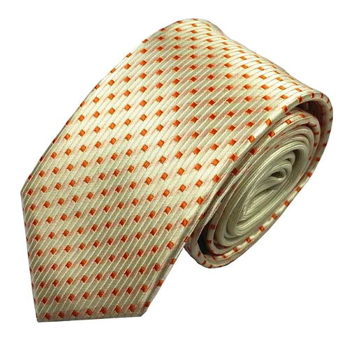 Classy Men Champagne Dotted Luxury Silk Narrow Tie - Classy Men Collection
