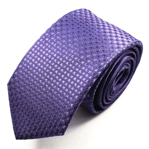 Classy Men Purple Mini Dot Luxury Silk Narrow Tie