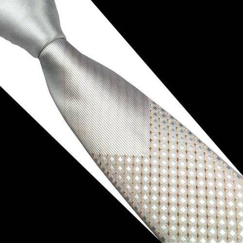 Classy Men Silver Gold Luxury Silk Narrow Tie