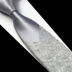 Classy Men Silver Floral Luxury Silk Narrow Tie