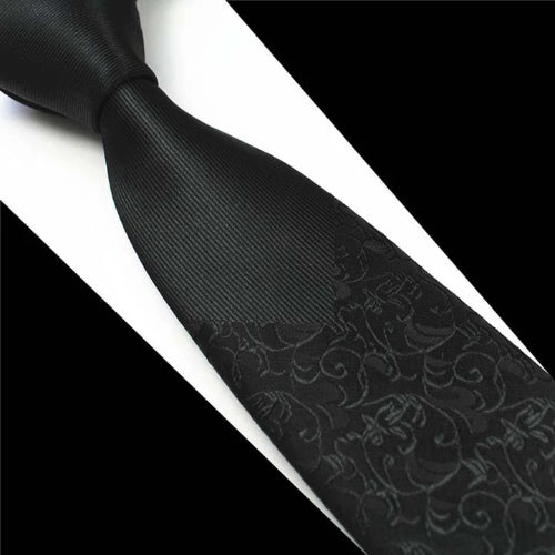 Classy Men Black Floral Luxury Silk Narrow Tie - Classy Men Collection