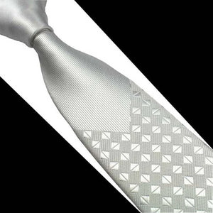 Classy Men Silver Luxury Silk Narrow Tie
