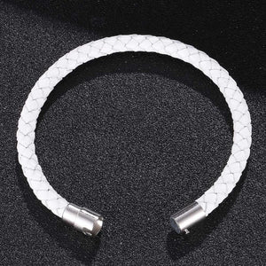 Classy Men Magnetic Leather Bracelet White