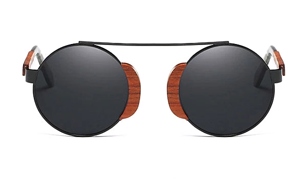 Classy Men Black Round Wood Sunglasses - Classy Men Collection