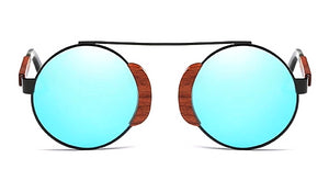 Classy Men Blue Round Wood Sunglasses - Classy Men Collection