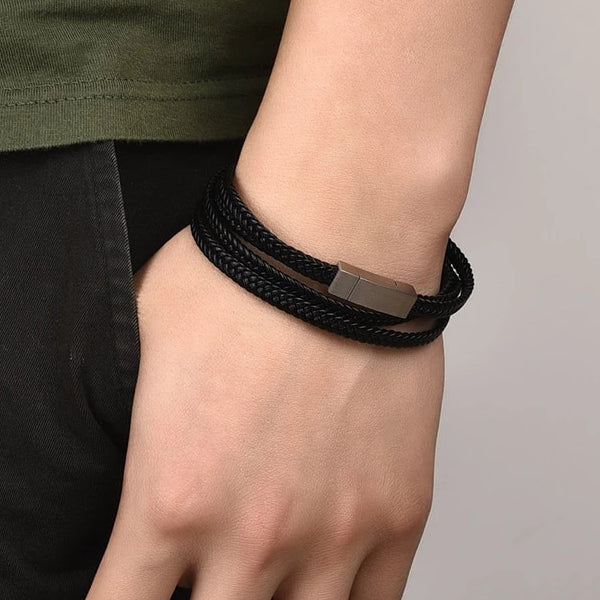 Classy Men Black Multi-Layer Braided Leather Bracelet