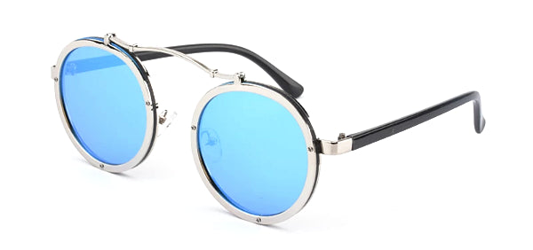 Classy Men Blue Retro Round Sunglasses - Classy Men Collection