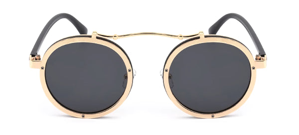 Classy Men Black & Gold Retro Round Sunglasses - Classy Men Collection