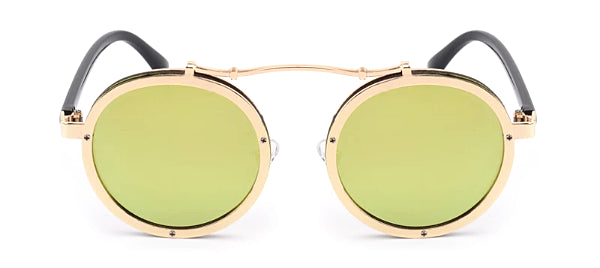 Classy Men Gold Retro Round Sunglasses - Classy Men Collection
