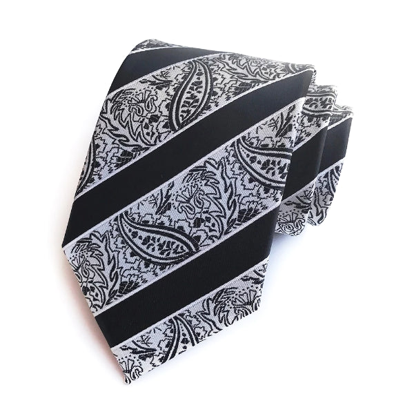 Classy Men Black Striped Silk Paisley Tie - Classy Men Collection