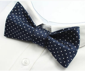 Classy Men Blue Dotted Silk Self-Tie Bow Tie - Classy Men Collection