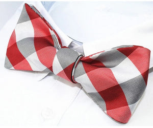 Classy Men Red Checkered Silk Self-Tie Bow Tie