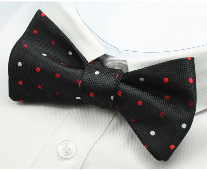Classy Men Black Dotted Silk Self-Tie Bow Tie - Classy Men Collection