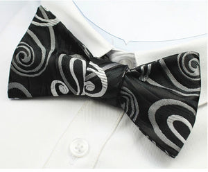Classy Men Black White Silk Self-Tie Bow Tie - Classy Men Collection