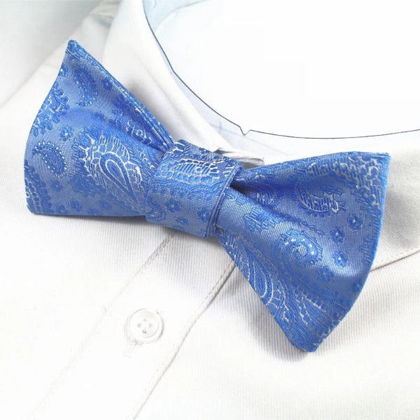 Classy Men Blue Paisley Silk Self-Tie Bow Tie - Classy Men Collection