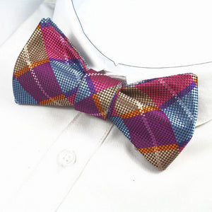 Classy Men Violet Checkered Silk Self-Tie Bow Tie