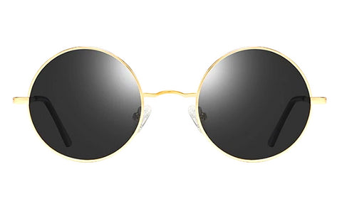 Classy Men Black Gold Round Polarized Sunglasses - Classy Men Collection