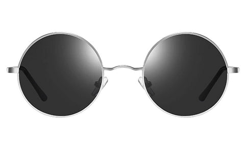 Classy Men Black Silver Round Polarized Sunglasses - Classy Men Collection