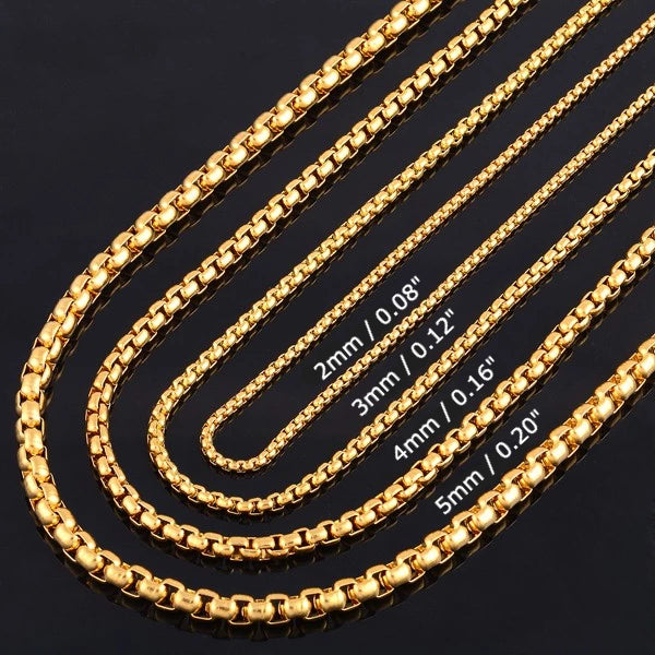 Classy Men 5mm Gold Box Chain Necklace