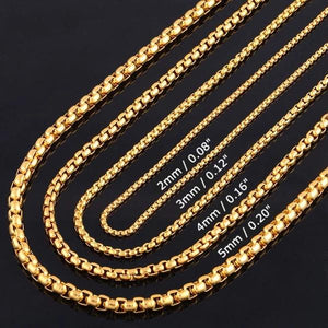 Classy Men 3mm Gold Box Chain Necklace