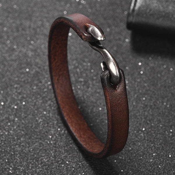 Classy Men Dark Brown Vintage Leather Bracelet - Classy Men Collection