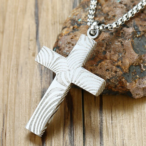 Classy Men Damascus Steel Cross Pendant Necklace