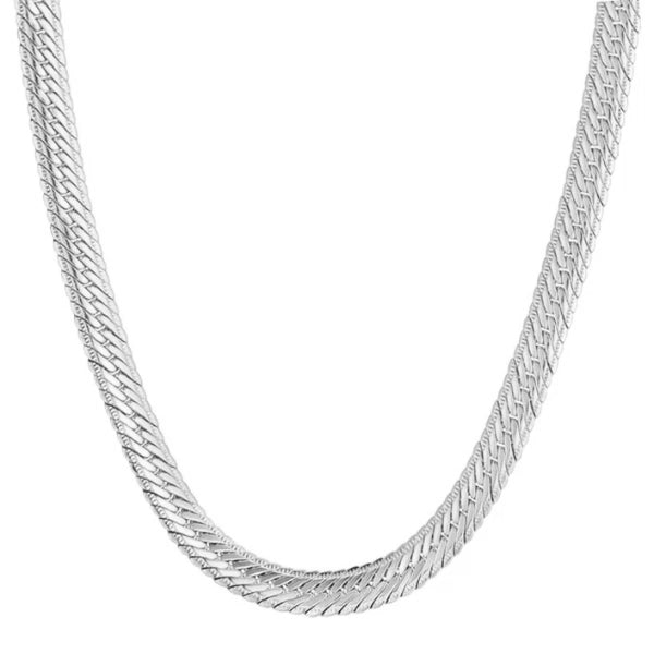Classy Men 5mm Silver Herringbone Chain Necklace