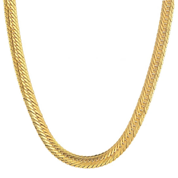 Classy Men 5mm Gold Herringbone Chain Necklace